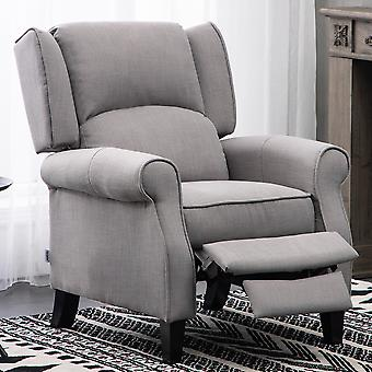 Grauer Stoff Wingback Liegesessel