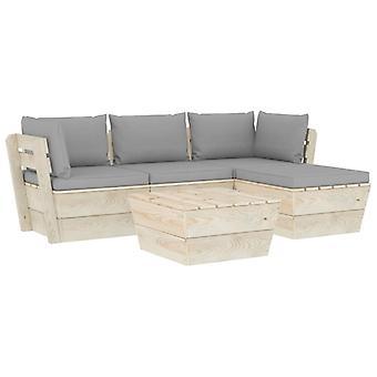 vidaXL 5-tlg. Jardin canapé-lit en palettes avec oreillers épicéa