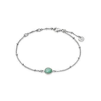 Daisy Amazonite Healing Stone Bobble Silver Bracelet HBR1003_SLV