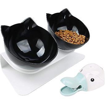 Futternäpfe Katzenfutter, Doppelt Futternapf Katze mit Portionierer und rutschfeste Basis Katzen