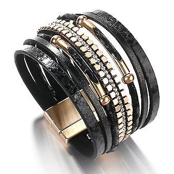 Snakeskin Pattern Leather Bracelets(Black)