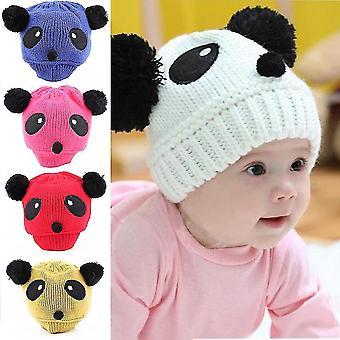 Coloré Bébé Fille Garçon Enfants Panda Chapeau Tricoté Hiver Chaud Crochet Cap