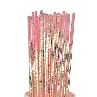 Aluminium Rose Gold Foil Papier Pailles Stripe Dot Mixed Birthday Party Décoration