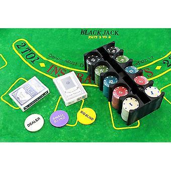 Texas Holdem Poker Set - 200 Chips &Pokermatte