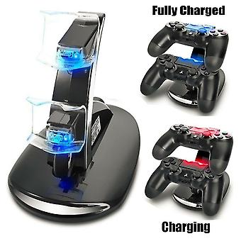 Dual Usb Charger Led Station Dock Fast Charging Stand för Sony Ps4 Controller Us