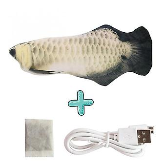 Usb Rechargeable Pet Cat Toy-electric Simulation Swing Fish (silver Dragon Fish)