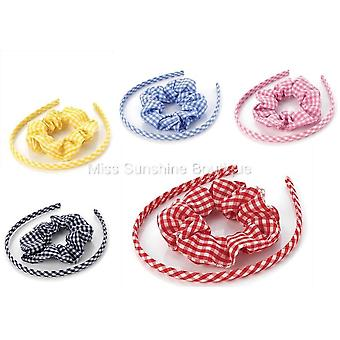 Two piece gingham headband & scrunchie set Various Colours