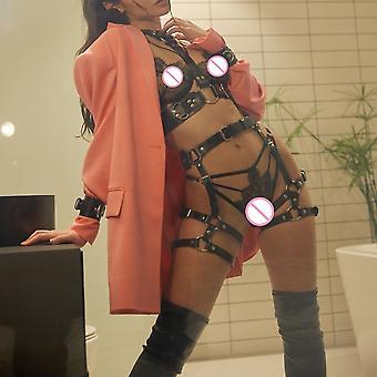 Ckmorls Dbsmレザーハーネスセット女性セクシーな下着エロボディボンデージ胸部ハーネスガーターセックス服ベルトゴシックフェチ