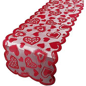 """שולחן יום האהבה רץ שולחן אהבה אדום רץ 33x183 ס""""מ שולחן פשתן קישוט חתונה (סגנון A)"""