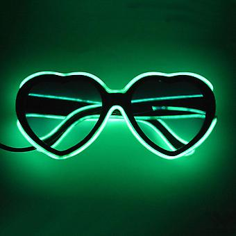 Led Luminous Heart Shape Glasses Neon Party El Wire Glasses Light Up Eyeglasses For Bars Clubs Parties