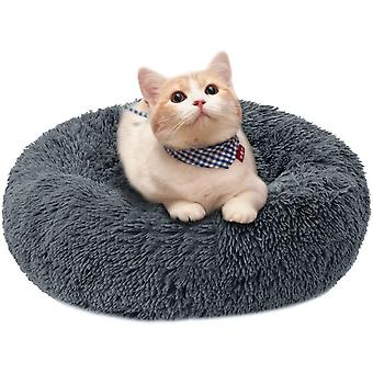 Outer Diameter 50cm Removable And Washable Deep Plush Pet Cat And Dog Kennel (dark Gray)