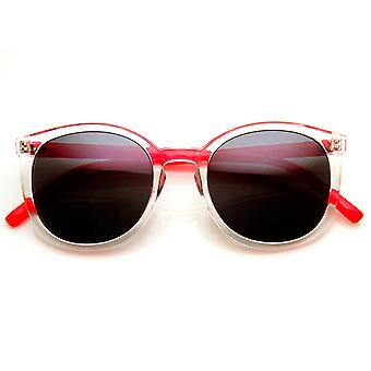 Transparent Color P3 Keyhole Round Horn Rimmed Sunglasses