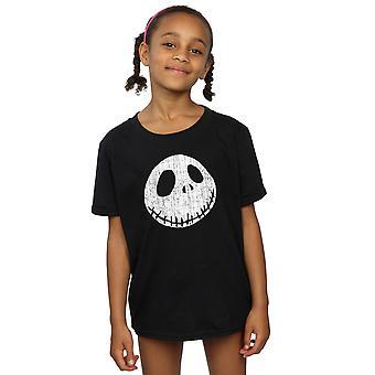 Disney Mädchen Alptraum vor Weihnachten Jack Face T-Shirt geknackt