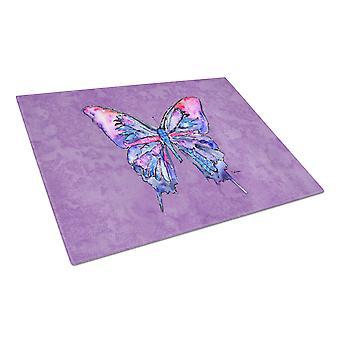 Carolines Treasures  8860LCB Butterfly on Purple Glass Cutting Board Large