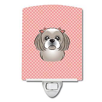 Клетчатый розовый серый Серебряный Ши-тцу керамические ночной свет