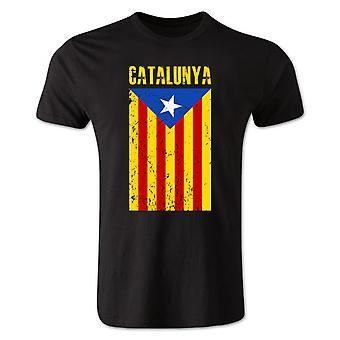 Camiseta de la bandera de Cataluña (negro)