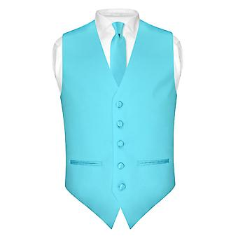 """Mens schlanke Passform Kleid Weste dünne Krawatte 2,5"""" Tie Hanky Set"""