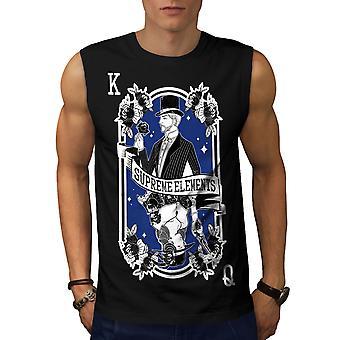 Kongen og dronningen menn BlackSleeveless t-skjorte | Wellcoda