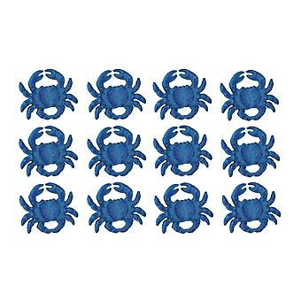 Set of 12 Distressed Finish Coastal Blue Cast Iron Crab Drawer Pulls