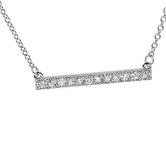 """5/8ct Bar Pendant Diamond Necklace in 14K White Gold (Not Enhanced) 5/8"""" Wide"""