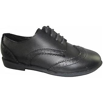 Mirak flickor Ally Brogue Smart läder skolan sko svart med snörning