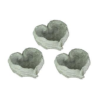 Heart Shaped Cement Angel Wings Decorative Bowl Set of 3