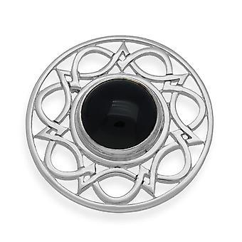 Sterling Silver tradičné Celtic Knotwork Design brošňa-čierny onyx kameň