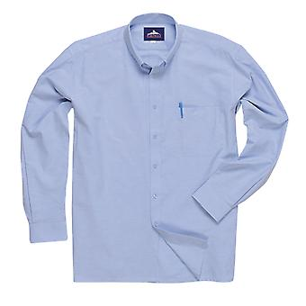 sUw Mens Oxford Easycare Polycotton Long Sleeve Shirt