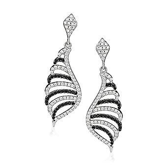 Orphelia zilver 925 Earring zwart & wit zirkonium ZO-5227