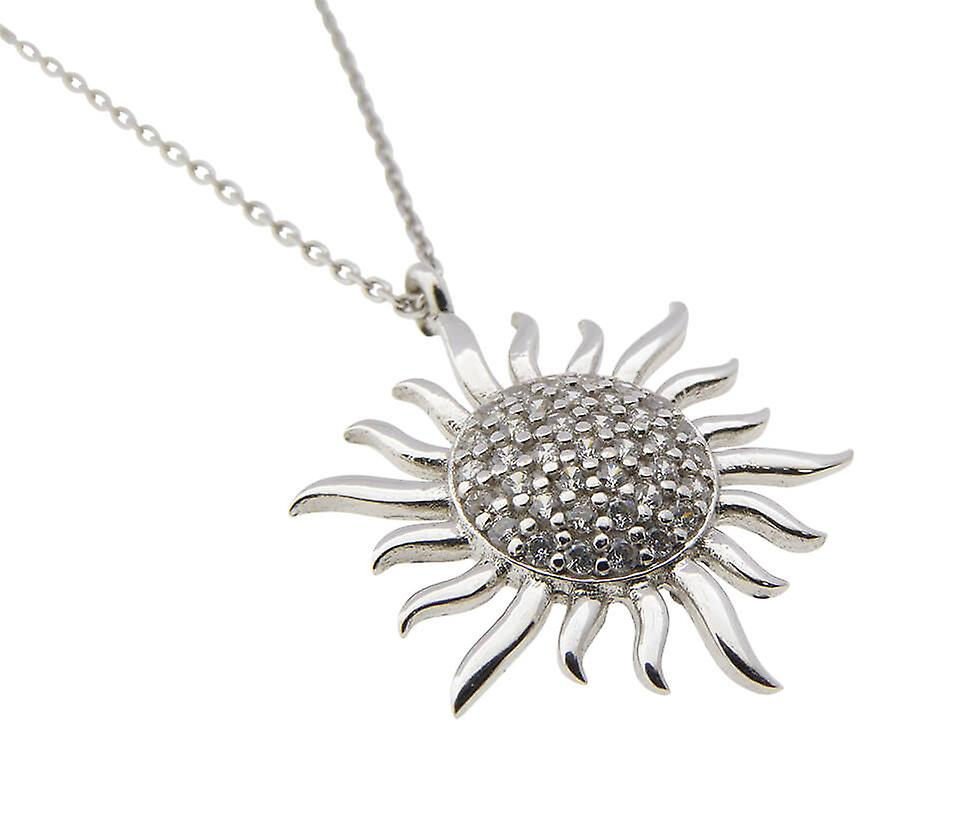 White gold necklace and zirconia Sun pendant