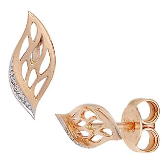 Earrings gold leaf 585 gold part rhodium plated 6 diamonds brilliant earrings gold