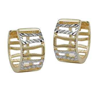 Creole 12x6mm hinged flip top bicolor 9Kt GOLD rhodium-plated