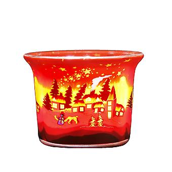 Kerzenfarm fyrfad glødende glas, vinter Village