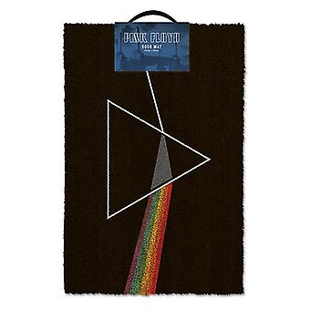 Pink Floyd doormat dark side of the Moon-Black, red, coconut fibre, bottom made of PVC.