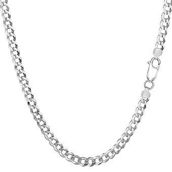 Sterling prata ródio chapeado colar de meio-fio, 3,7 mm
