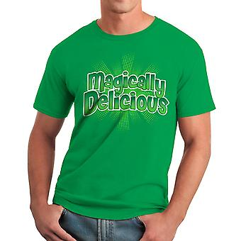 Humor Magically Delicious Graphic Men's Kelly Green T-shirt