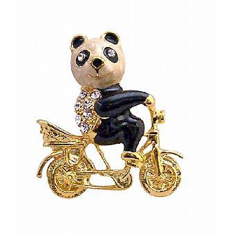 विंटेज बाइक ब्रोच आभूषण पर सोना मढ़वाया पांडा