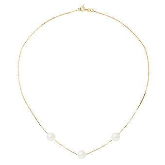 Ras du Cou Femme Necklace Chaine Forcat Yellow Gold 750/1000 and 3 Pearls of White Culture 8017