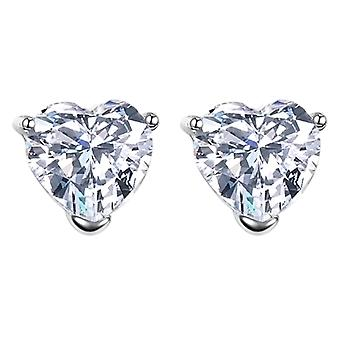 925 Sterling Silver Aaaaa Cubic Zirconia Heart Cut Stud Earrings