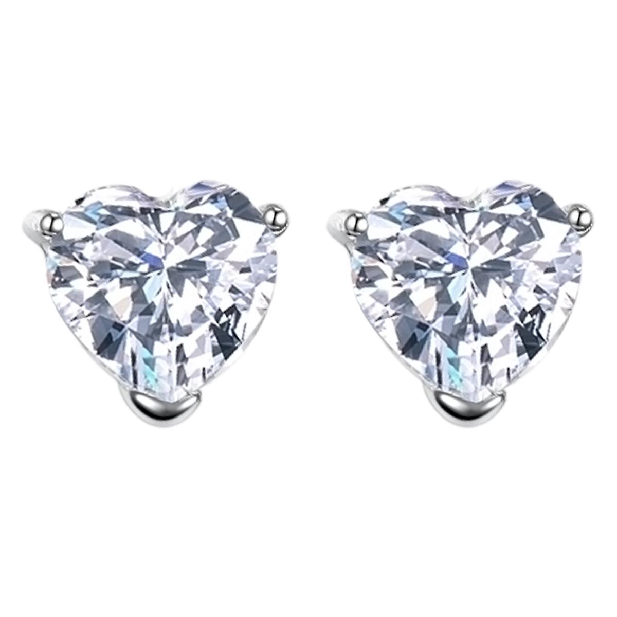 925 Sterling Silver Aaaaa Cubic Zirconia Heart Cut Stud Earrings