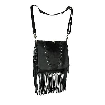 The Vail Genuine Leather Hair-On Hide Trim Fringed Messenger Handbag