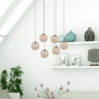 Vintage taklampa 6 Led pendel lampa restaurang ljus hem inredning Oval Canopy
