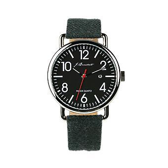 J. Brackett Camden Leather-Band Watch w/Date - Grey/Black