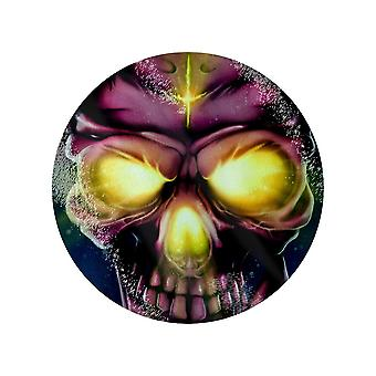 Grindstore Neon Skull Circular Glass Chopping Board