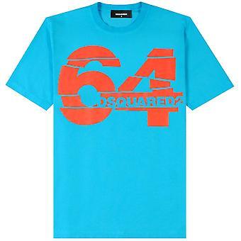 DSquared2 64 print T-shirt licht blauw