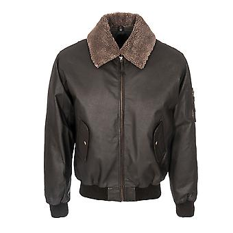 Mens Classic Fur Collar Aviator Removable Lining Jacket