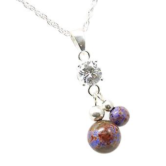 Toc 925 Silver Double Purple and Brown Purple Jasper Net Marbelised Ball Pendant
