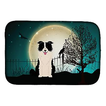 Halloween skummelt Border collie svart hvit parabol tørking matte