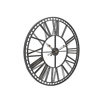 Libra Furniture Black Iron And Mirror Skeleton Wall Clock
