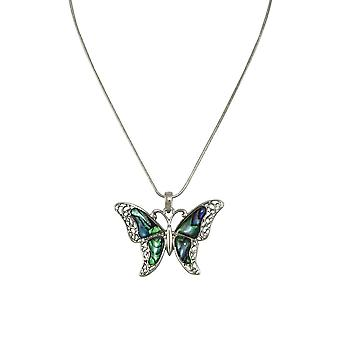 Eternal Collection Take Flight Paua Shell Butterfly Silver Tone Pendant Necklace
